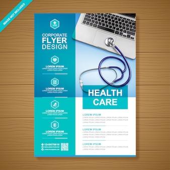 Gesundheitswesen und medizinische abdeckung a4 flyer entwurfsvorlage