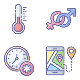 Gesundheitswesen und medizinische icons pack