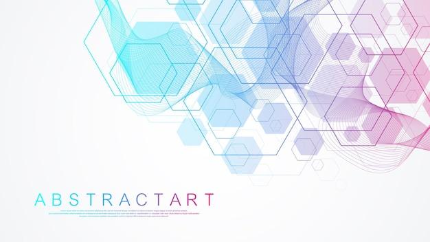 Gesundheitswesen und medizinische musterinnovation konzept wissenschaft hintergrunddesign. abstrakte geometrische sechsecke formen medizin- und wissenschaftshintergrund. vektor-illustration.