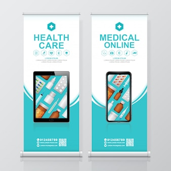 Gesundheitswesen und medizinische online-service rollup und standee-design-vorlage