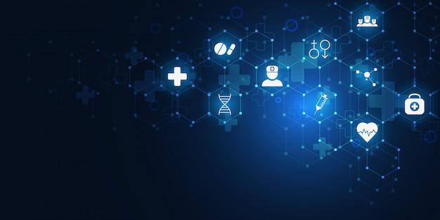 Gesundheitswesen und medizinischer hintergrund mit flachen ikonen und symbolen.