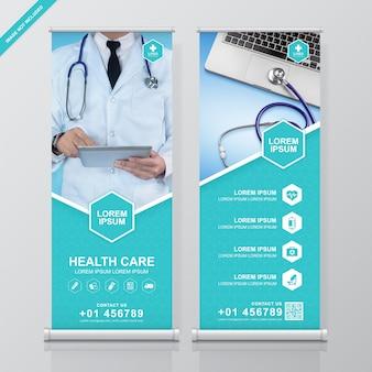 Gesundheitswesen und medizinisches rollen oben und standfahnendesign