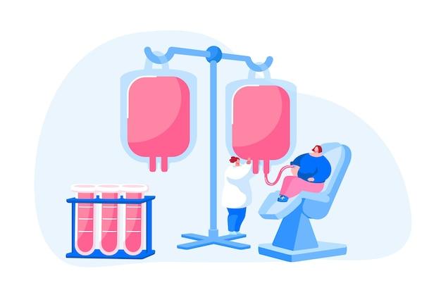 Gesundheitswesen, wohltätigkeit. transfusion, spendenlabor