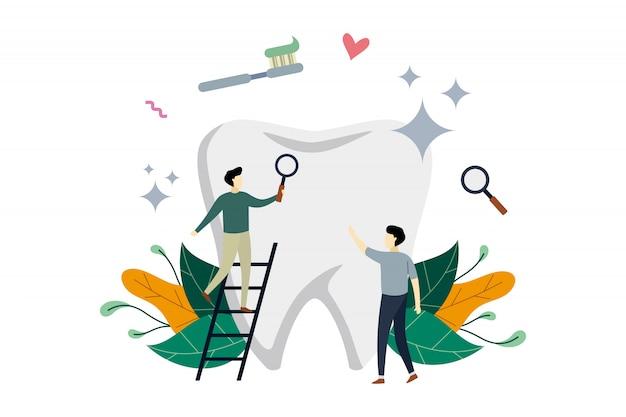 Gesundheitswesen, zahnreinigung, zahnmedizin mit kleinen leuten