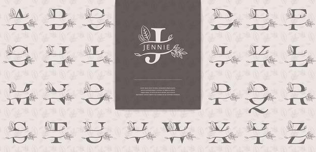 Geteilte buchstaben mit blättern eignen sich für das logo der frauennamen