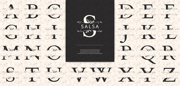 Geteilte buchstaben mit blumen eignen sich für das logo der frauennamen