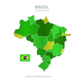 Geteilte karte von brasilien