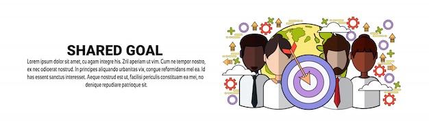 Geteilte ziel-teamwork-konzept-horizontale fahnenschablone