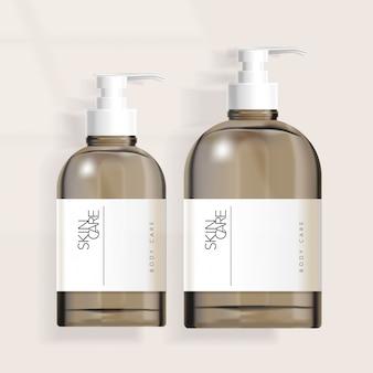 Getönte boston pumpflaschenverpackung für haarpflege- / hautpflege- / gesundheits- / hautpflegeprodukte