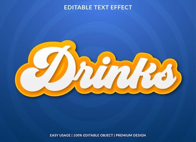 Getränke bearbeitbare texteffektvorlage premium-stil