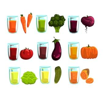 Getränke für eine gesunde ernährung illustrationen isoliert auf einem weißen hintergrund