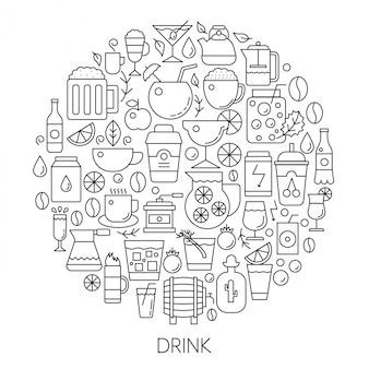 Getränke infografik linie emblem