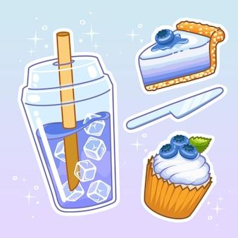 Getränke mit süßigkeiten. hand gezeichnete set-sammlung.