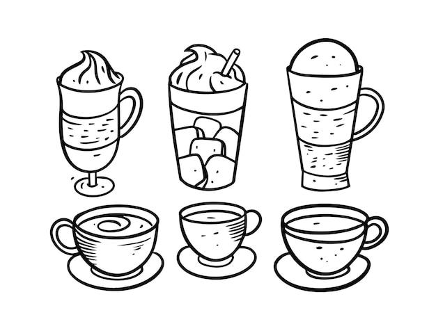 Getränke- und kaffeeset isoliert auf weiß