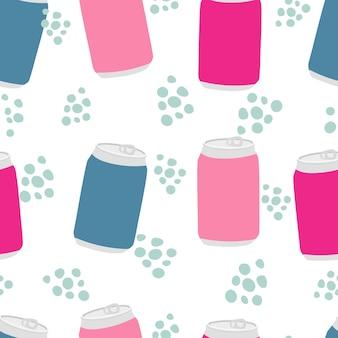 Getränke und limonade-frucht-soda-getränk in einem nahtlosen flaschenmuster mit aluminiumdosen und -tropfen