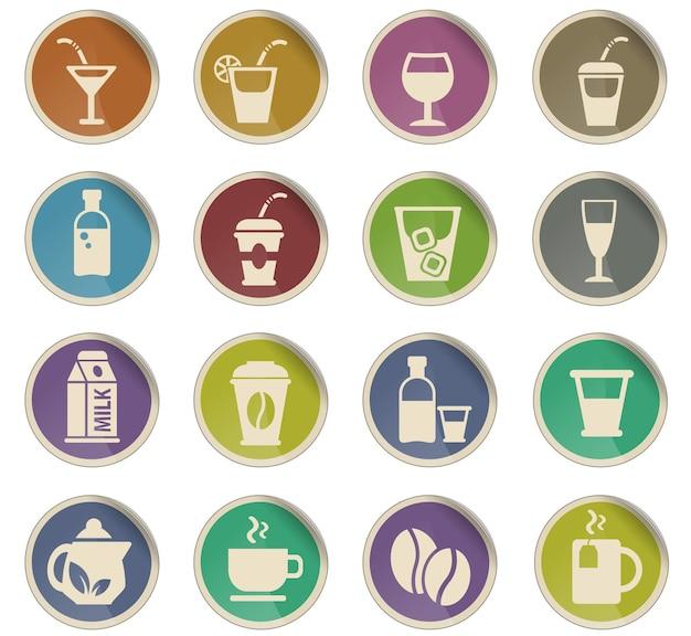 Getränke-web-icons in form von runden papieretiketten
