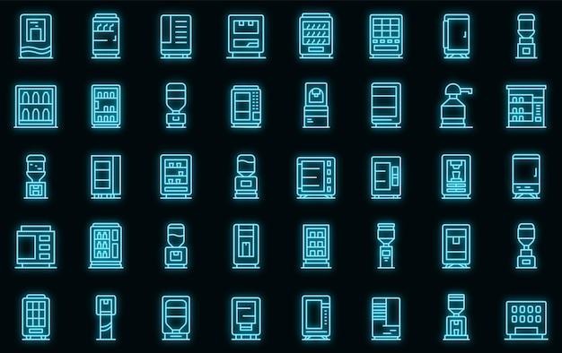 Getränkeautomaten icons set vektor neon
