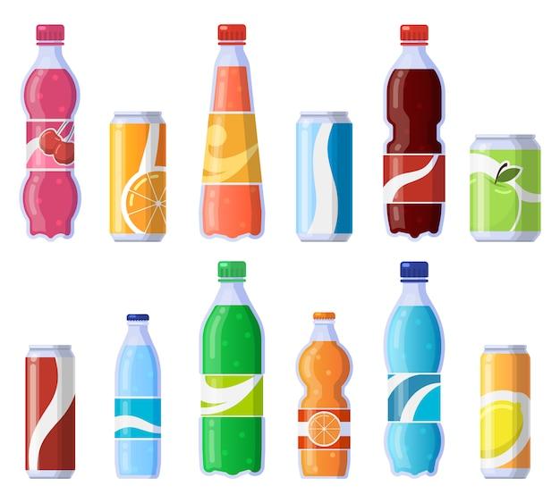 Getränkedosen und flaschen. soda abgefüllte getränke, kohlensäurehaltige dosengetränke, soda und saft getränke illustration ikonen gesetzt. sprudelsaft, soda in plastik und dose