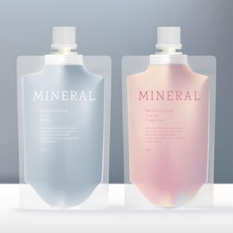 Getränkeflüssigkeit oder beauty translucent packet mit weißer schraubkappe