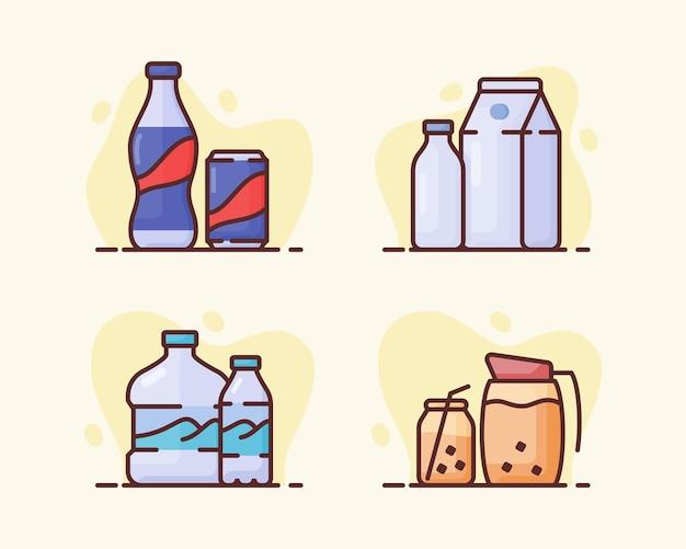 Getränkegetränkeikonsatzsammlung cola-milchmineralwasserbrühkaffee mit flacher umrissart-vektordesignillustration