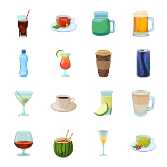 Getränkkarikaturikonensatz, -cocktail und -alkohol.