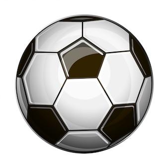 Getrennte Abbildung der Schwarzweiss-Fußballkugel auf weißem Hintergrund