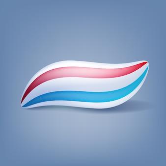 Getrennte abbildung des zahnpasta-flecks klecks. rote und blaue minze streifen.