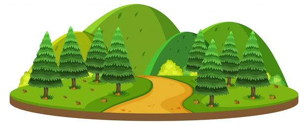 Getrennter grüner hügel der natur