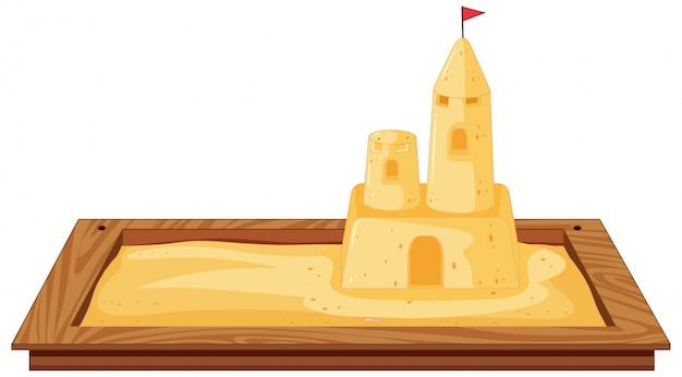 Getrennter sandkasten auf weißem hintergrund