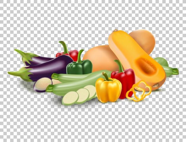 Getrennter satz gartengemüse: butternusskürbis, grüner pfeffer, zucchini, aubergine.