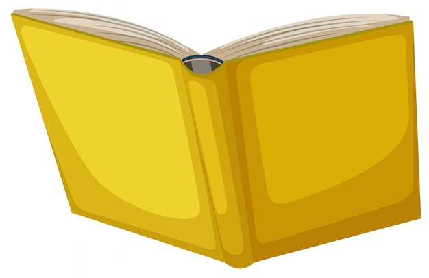Getrenntes gelbes buch auf weißem hintergrund