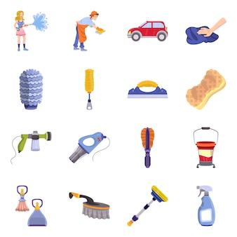 Getrenntes nachrichtensauber- und -autowäschesymbol. reinigungs- und pflegebestand einstellen.