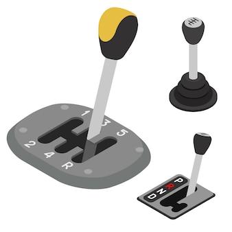 Getriebesymbole eingestellt, isometrischer stil