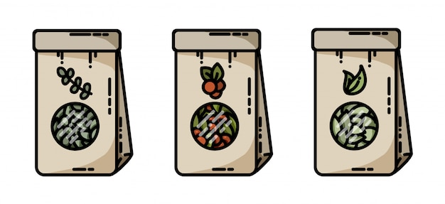 Getrocknete kräutertee-handwerk sackt flache ikonen des vektors ein