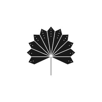 Getrocknete palmblatt-silhouette im einfachen stil. vektor-tropische blatt-boho-illustration. abstraktes blumensymbol zum erstellen von logo, muster, t-shirt-drucken, tattoo-design, social media post und stories