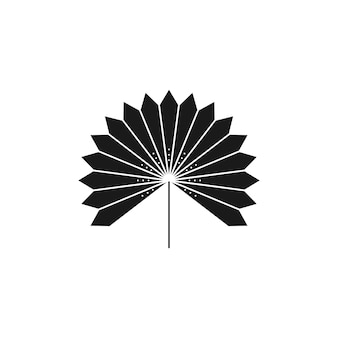 Getrocknete palmblatt-silhouette im einfachen stil. vektor-tropisches blatt-boho-emblem. blumenillustration zum erstellen von logos, mustern, t-shirt-drucken, tattoo-design, social media post und stories