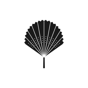 Getrocknete palmblatt-silhouette im einfachen stil. vektor-tropisches blatt-boho-emblem. fan-illustration zum erstellen von logos, mustern, t-shirt-drucken, tattoo-design, social media post und stories