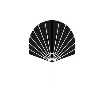 Getrocknete palmblatt-silhouette im einfachen stil. vektor-tropisches blatt-symbol. boho illustration zum erstellen von logos, mustern, t-shirt-drucken, tattoo-design, social media post und stories