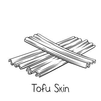 Getrocknete yuba sticks umrissikone, zeichnung monochrome fuzhu oder tofu haut.