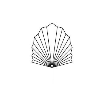 Getrocknetes palmblatt-liniensymbol im trendigen minimalistischen stil. vektor-tropisches blatt-boho-emblem. blumenillustration zum erstellen von logo, muster, t-shirt und wanddrucken, tattoo-design, social media post und stories
