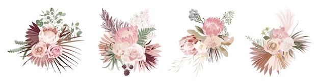 Getrocknetes pampasgras, rose, protea, orchideenblüten, tropische palmblätter, vektorsträuße. pastellaquarellblumenschablone lokalisierte sammlung für hochzeitskranz, blumenstraußrahmen, designdekoration