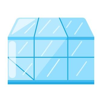 Gewächshaus im flachen design isoliert auf weißem hintergrund. glashaus-zeichen. vektor-illustration