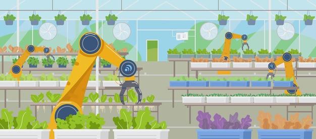 Gewächshaus mit automatisierten robotern der landwirtschaft, die horizontalen hintergrund arbeiten smart farming