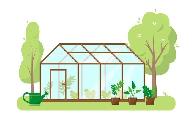 Gewächshaus mit pflanzen und bäumen im garten. frühling oder sommer banner, konzept oder hintergrund.