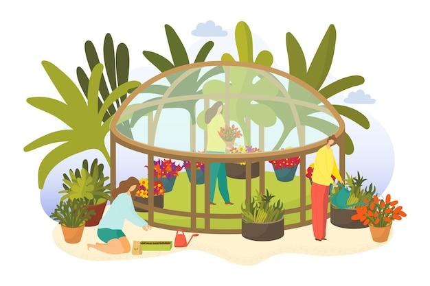 Gewächshaus mit pflanzenvektorillustration flach frau mann menschen charakter gartenpflanze wächst na...