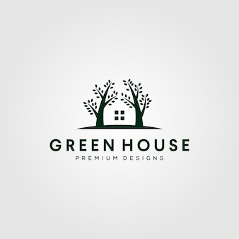 Gewächshaus-naturbaum-logo lokalisiert auf grau
