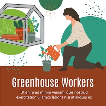 Gewächshausarbeiter landwirtschaft und gartenbau