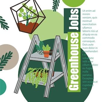 Gewächshausjobs pflanzen und töpfe ökosystem-box