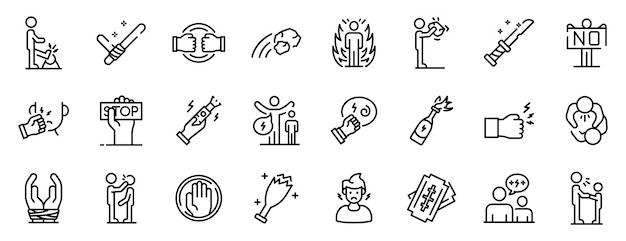 Gewalt icons set, umriss-stil