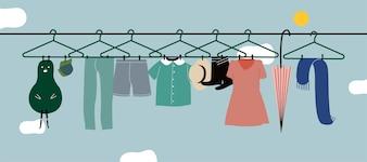 Gewaschene Kleidung, die an der Wäscheleine hängt